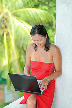 Beautiful Young Woman With Laptop Stock Images - Image: 8610634