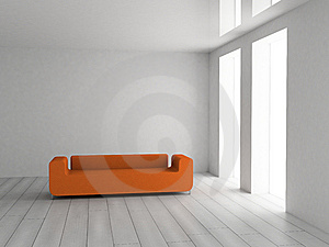 πορτοκαλής καναπές Στοκ Εικόνα - εικόνα: 8611351
