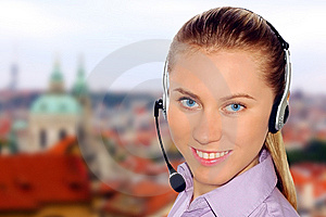 Woman Wearing Headset In Office;could Be Reception Royalty Free Stock Photo - Image: 8613035
