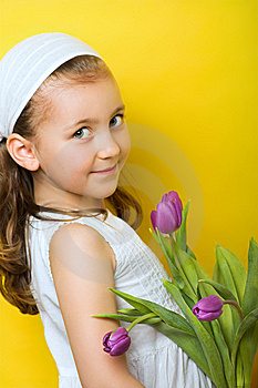 Little Smiling Girl With Flowers Royalty Free Stock Photography - Image: 8613357
