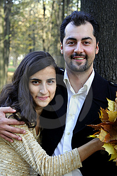 Cheerful Couple In The Woods Stock Photography - Image: 8613592