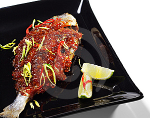 Thai Dishes - Grilled Dorado Royalty Free Stock Photography - Image: 8613677