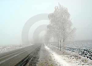 Country Landscape In Frost And Fog Stock Images - Image: 8614284