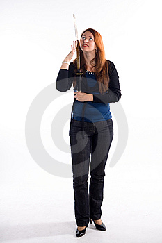 Young Girl And Japan Sword Stock Photo - Image: 8614420