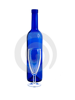 An Empty Bottle And Wineglass Isolated On White Royalty Free Stock Images - Image: 8614619