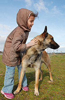 Little Girl And Malinois Stock Photography - Image: 8614942