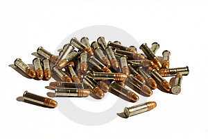Fifty Bullets Isolated On White Stock Photos - Image: 8615033