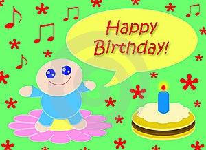 Happy Happy Birthday_Green Stock Photography - Image: 8615742