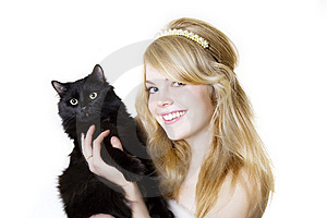 Blonde Girl With A Black Cat Stock Image - Image: 8616491