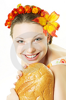 Smiling Girl With A Great Bread Royalty Free Stock Photography - Image: 8616517