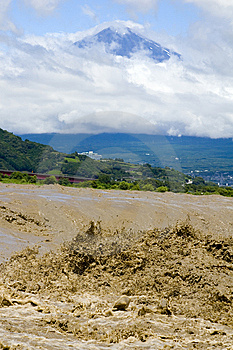 Mount Fuji With Muddy River Royalty Free Stock Photography - Image: 8616997