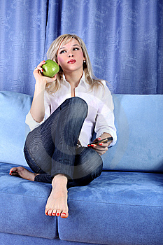 Girl With Apple Stock Photos - Image: 8617133