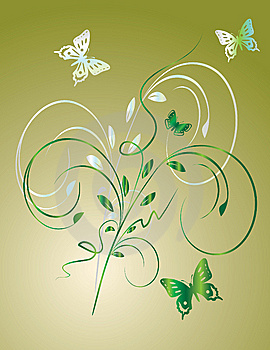 The Background Of Leaves And Butterflies Stock Photo - Image: 8617240