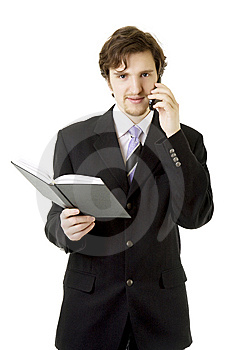 Businessman With Phone And Daily Royalty Free Stock Photo - Image: 8618145
