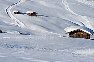 Mountain Landscape, Snow, Chalet Royalty Free Stock Photos - Image: 8618888