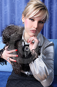 Girl With Fur Royalty Free Stock Photography - Image: 8619997