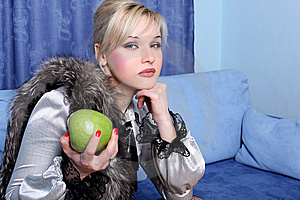 Girl With Apple Stock Images - Image: 8620224