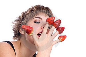 Sexy Girl With Red Strawberry Isolated On White Royalty Free Stock Photo - Image: 8620945