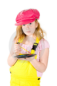 Little Girl Is Painting On A White Paper Stock Photography - Image: 8620972