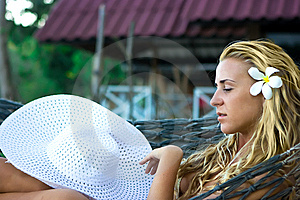Hammock And Lady Stock Image - Image: 8622171