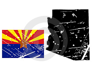 Grunge Arizona Map With Flag Stock Photography - Image: 8622202