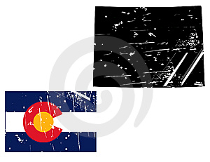 Grunge Colorado Map With Flag Royalty Free Stock Images - Image: 8622209