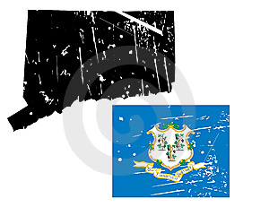 Grunge Connecticut Map With Flag Stock Images - Image: 8622214