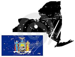 Grunge New York Map With Flag Royalty Free Stock Photo - Image: 8622215