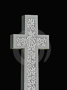 Granite Cross On Black Royalty Free Stock Photo - Image: 8622315