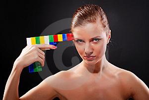 Woman With Toy Gun Stock Photo - Image: 8622370