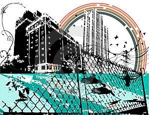 Grunge Distressed Laguna Seca Blue City Royalty Free Stock Images - Image: 8622449