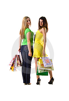 Two Pretty Women And Bags Stock Photography - Image: 8622462