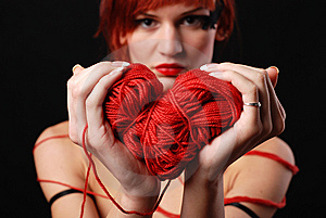 Woman With Red Clew Stock Image - Image: 8622641