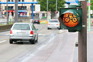 Bicycle Roadsign On The Street Stock Image - Image: 8622651