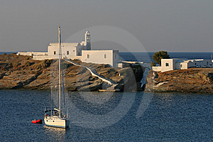 Seascape With The Boat And Greek Architecture Stock Photos - Image: 8622893