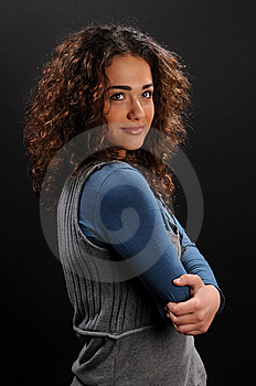Beautiful Model With Curly Hair Royalty Free Stock Images - Image: 8623339