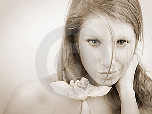 Girl With Orchid Stock Image - Image: 8623451