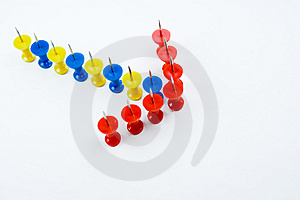 Arrow Push Pins Formation Royalty Free Stock Images - Image: 8623799