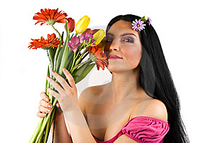 Beautiful Spring Woman With Flowers Royalty Free Stock Photos - Image: 8623998