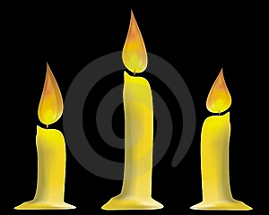 Three Candles Isolated Stock Images - Image: 8624294