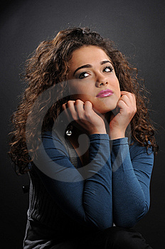 Beautiful Model With Curly Hair Royalty Free Stock Photos - Image: 8624488
