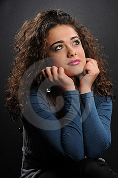 Beautiful Model With Curly Hair Stock Image - Image: 8624511