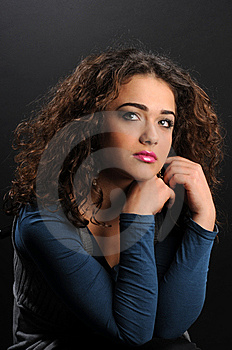 Beautiful Model With Curly Hair Royalty Free Stock Image - Image: 8624536