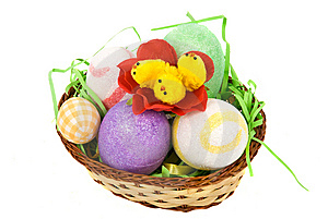 Easter Basket With Eggs And Chicken Royalty Free Stock Images - Image: 8624659