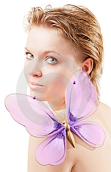 Pretty Girl With A Butterfly Stock Images - Image: 8625544