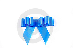 Blue Ribbon Isolated Over White With Clipping Path Stock Photo - Image: 8625760