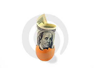 One Hundred Dollars In Egg Shell On White. Stock Photo - Image: 8625850