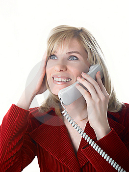 The Girl Speaks On The Phone Stock Image - Image: 8625961