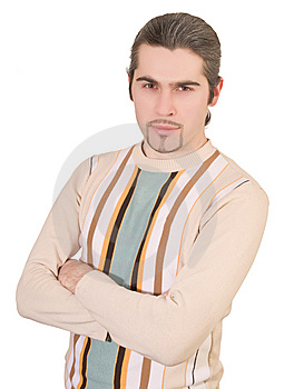 Young Serious Handsome Male In Sweater Isolated Stock Photo - Image: 8627770