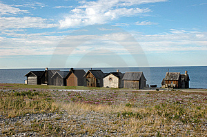 Row Of Fishing Huts Royalty Free Stock Images - Image: 8628339